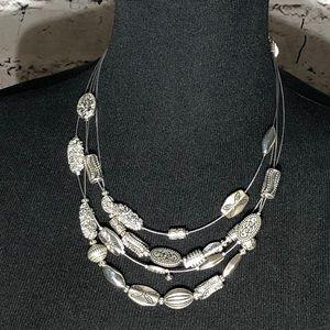 Silver Color Multi Strand Necklace